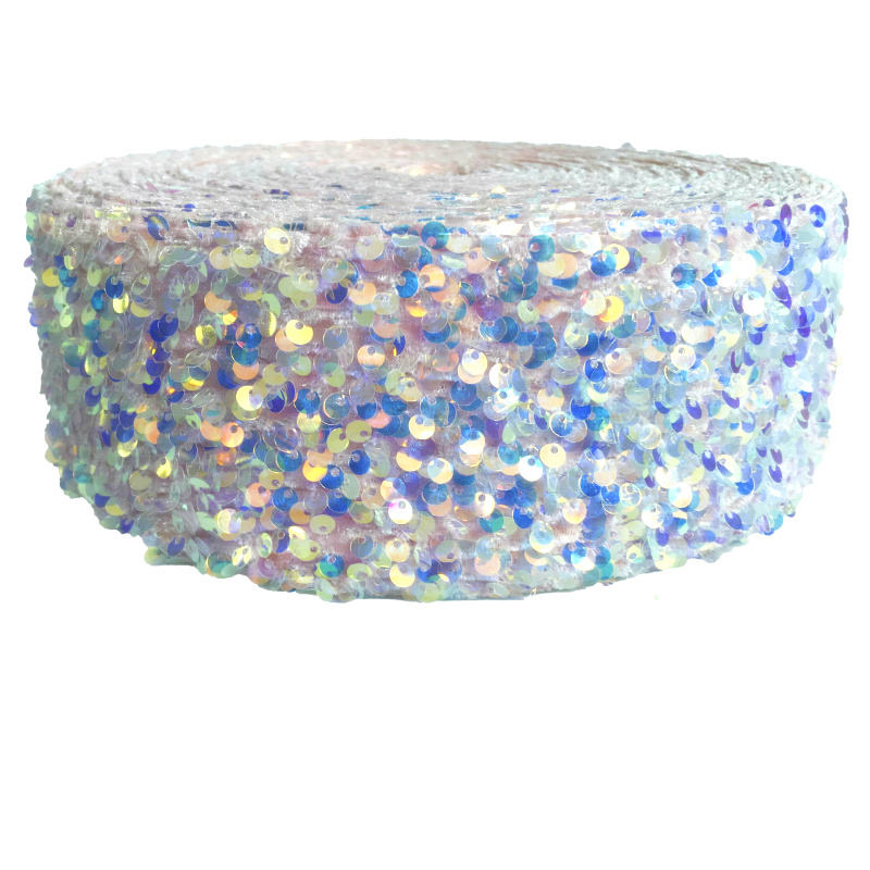 3 inch 75mm velvet Sequin fabric ribbon many colors for choose from 25 yards / lot