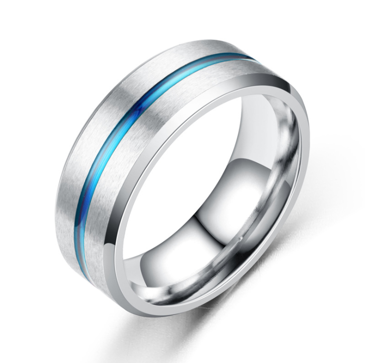 8MM rvs Zwarte Ring Voor <span class=keywords><strong>Mannen</strong></span> Wedding Bands Trendy Rainbow Groef Ringen gift ring