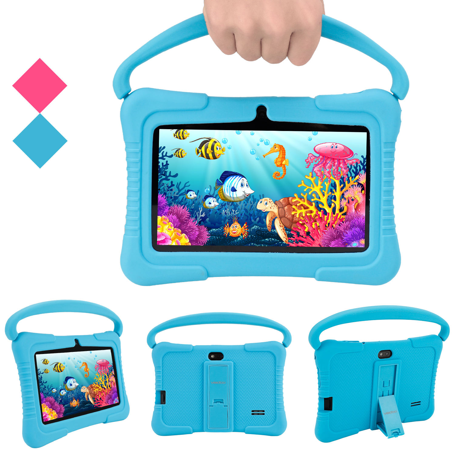 7 inch Kids Tablet HD Screen Educational APP Android 8.1 Tab PC for Children Silicon Case