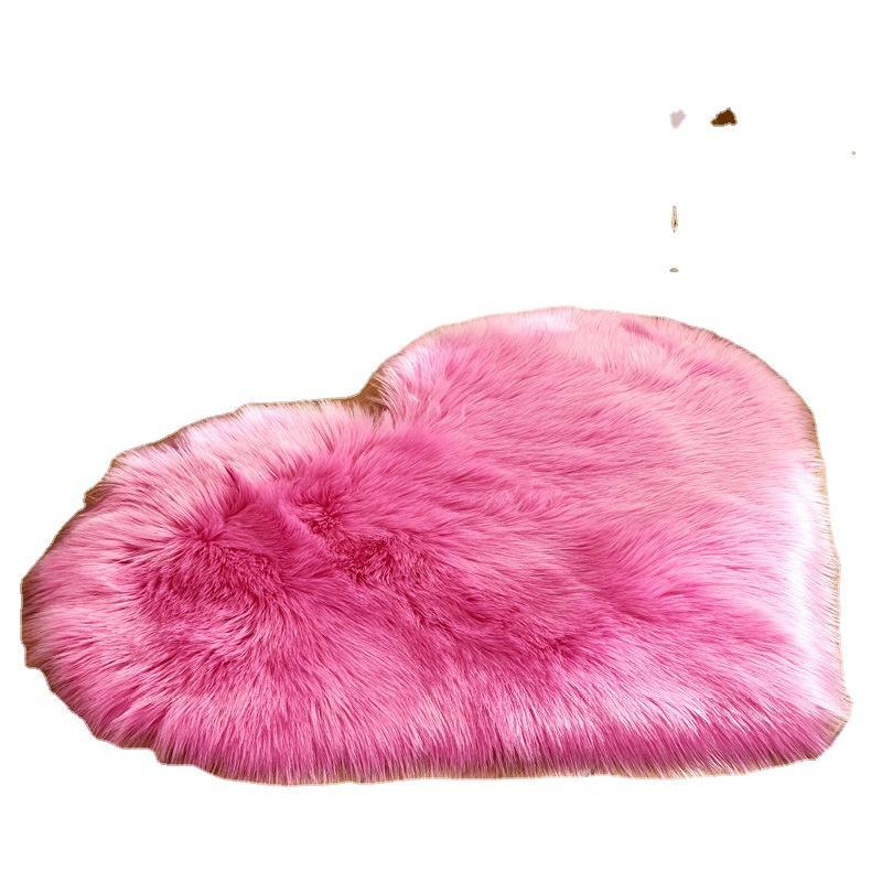 Hogar Moderno dormitorio suave Pelo Largo duradero de escritorio de piel de imitación en forma de corazón de alfombras