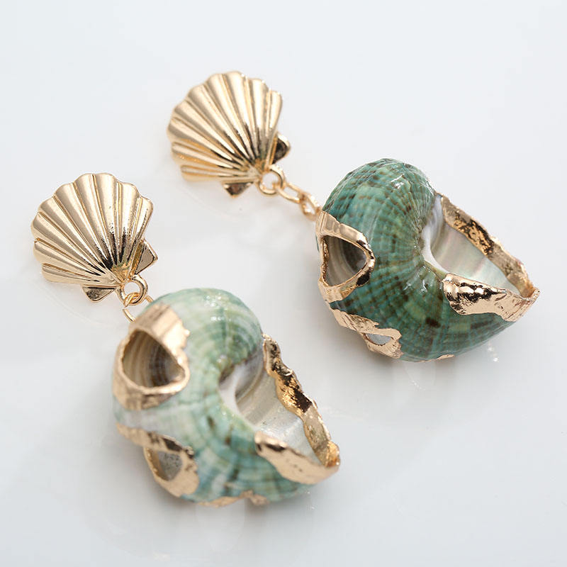 New fashionable Gold shell Starfish Conch dangle Earrings Natural tortoise sea Shell Irregular Ocean Style Drop Earrings jewel