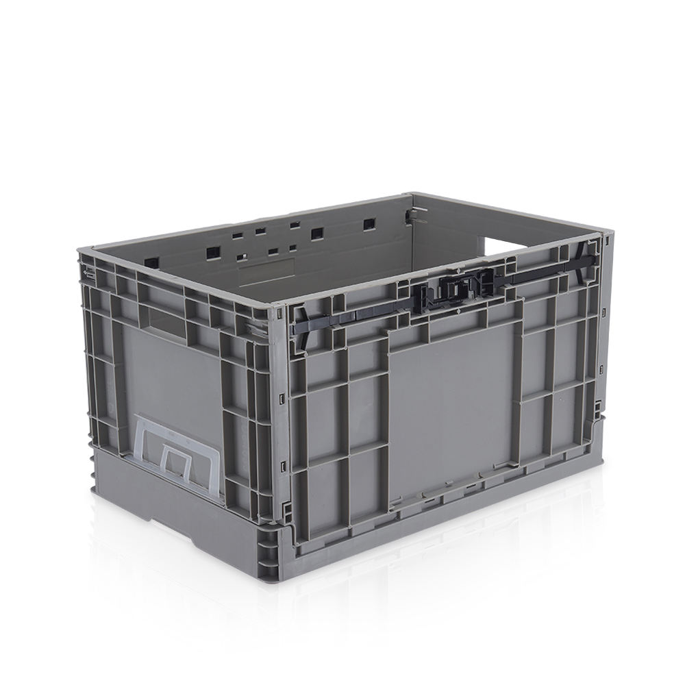 New used heavy duty shallow storage collapsible plastic foldable crate for produce