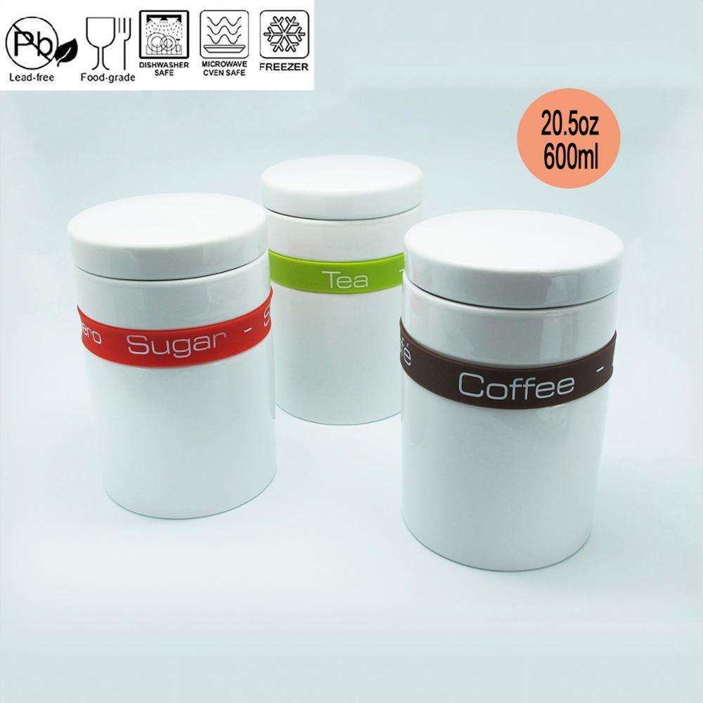 Ceramic Storage Jar with Silicone Kitchen Canister Ceramic Canister Set