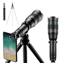APEXEL new 60X 50X zoom telephoto lens for iPhone 11 Samsung S10 mobile phone camera lens telescope with tripod stand