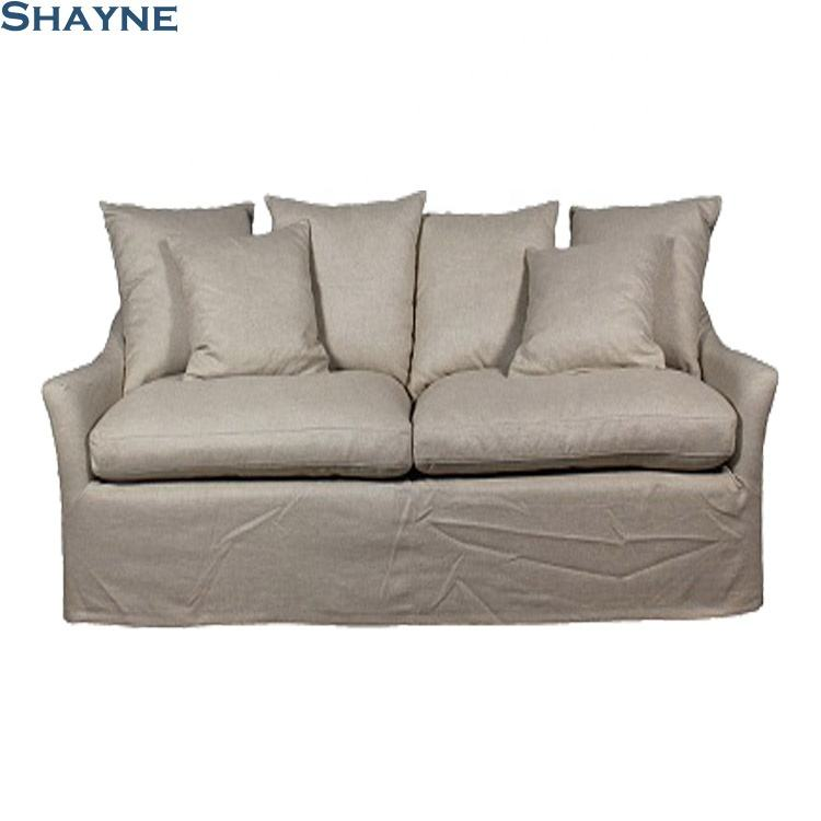 Shayne Furniture China ODM Factory Luxury Customize American Style White Fabric Solid Oak Living Room 2 Seater Sofa