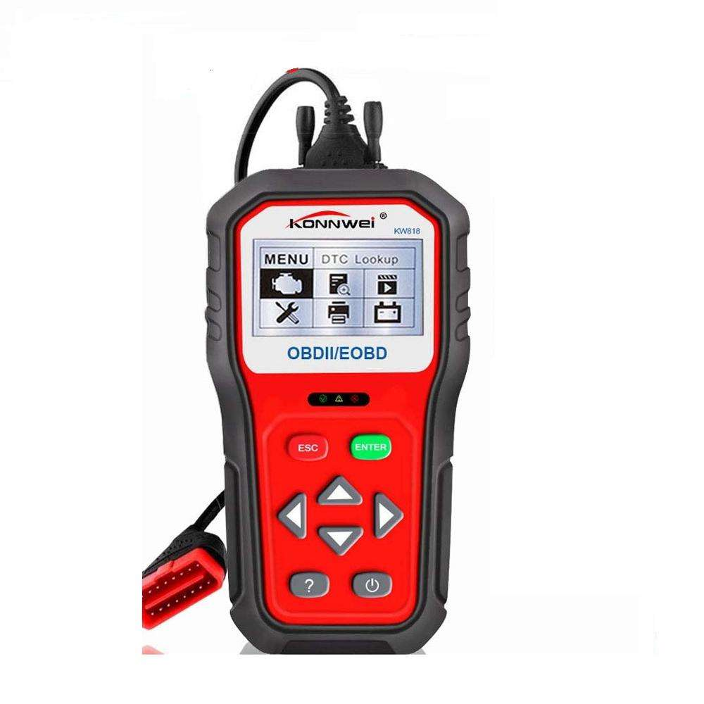 Update free lifetime black car scanner code reader KW818 diagnostic with 12V BAT check & vehicle status indicators & Russian