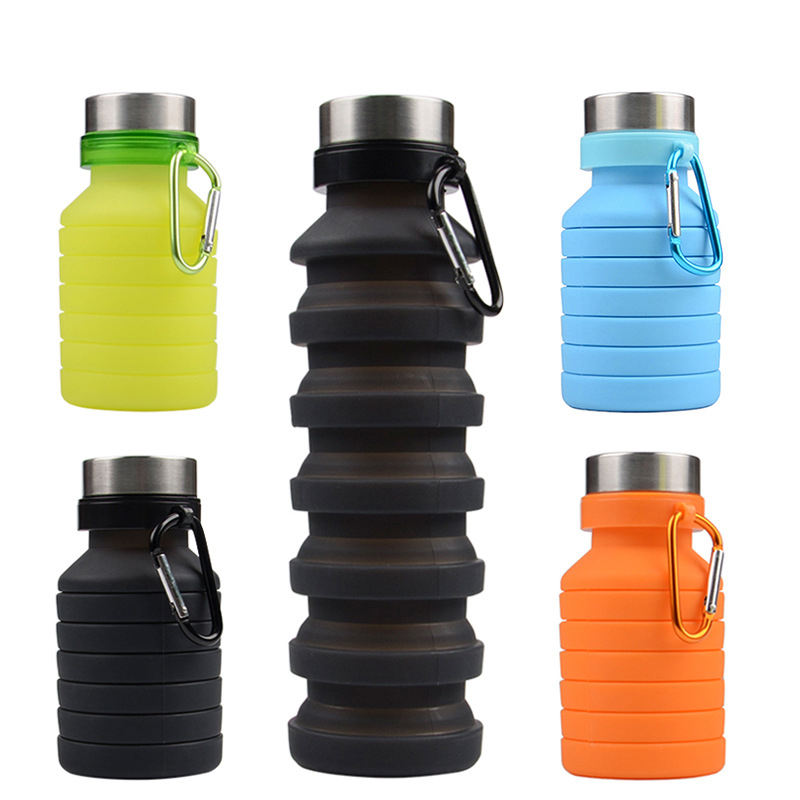 2020 New Product und BPA Free Silicone Water Bottle, Collapsible Drinking <span class=keywords><strong>Sport</strong></span> Water Bottle With Steel Lids