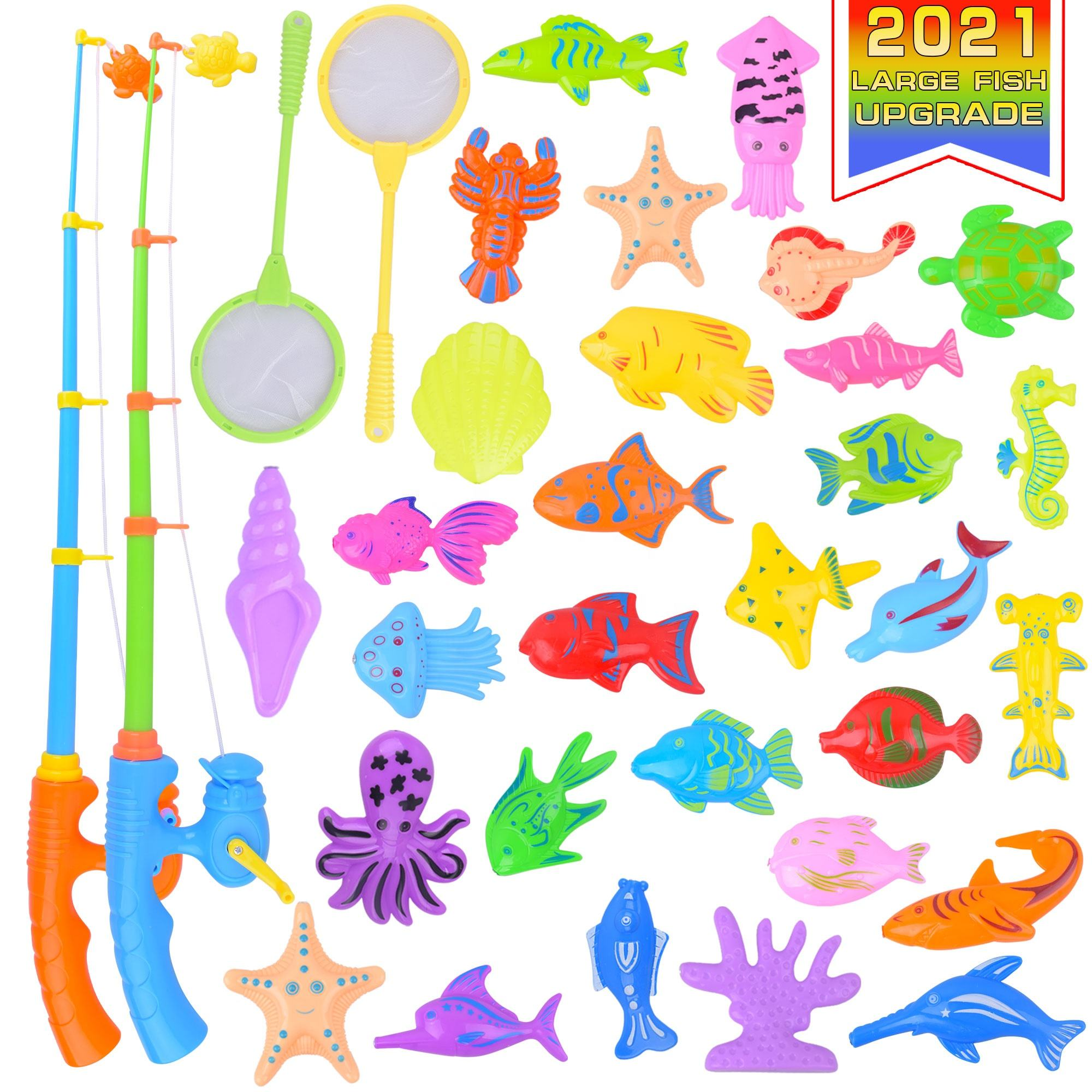 2021 Fishing game toy funny magnetic fishing toy fishing bath toy for kids with pond