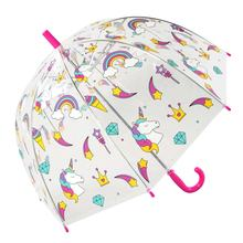 lovely straight children Kids PVC&POE plastic dome bubble transparent clear umbrella with custom cartoon printing
