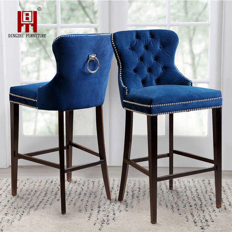 French Style Bar Stool High Chair Modern Luxury Wooden Bar Chairs