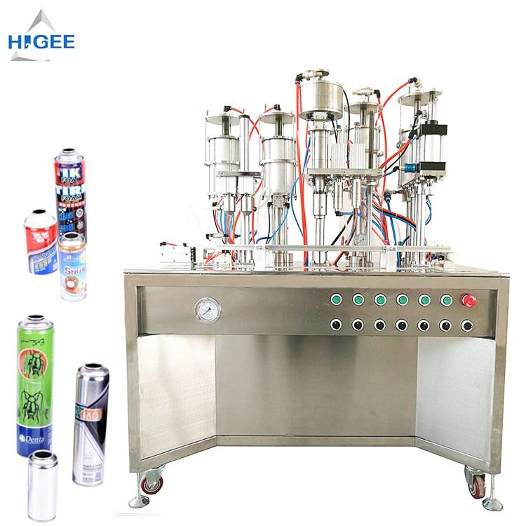 Automatic aerosol gas filling machine with spray cans , butane filling machine aerosoles deodorizer filling machine acetone fill