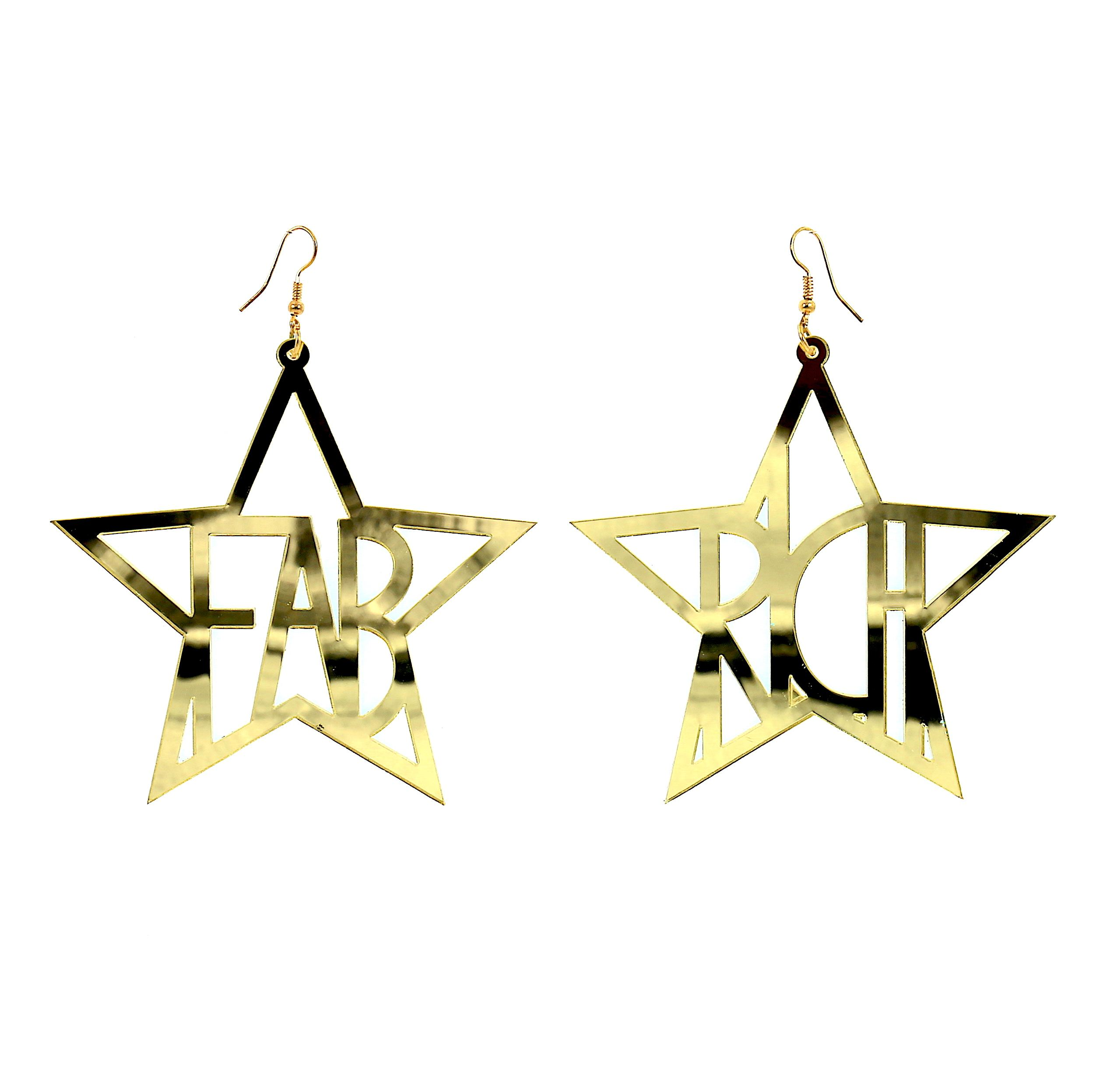 Import From China New Arrival Holiday Acrylic Star Letter Flower Earring Gold For Youth