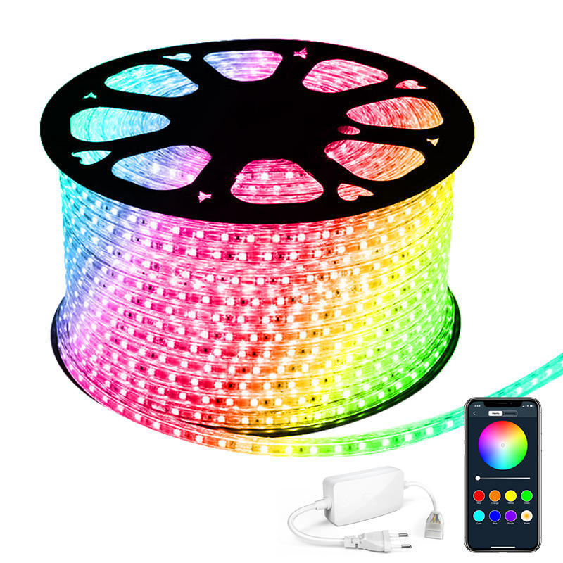 50M/roll AC 110V/220V Smart LED Strip RGB Color Changing IP66 Waterproof APP Remote Control Living Room Outdoor Flexible Strip