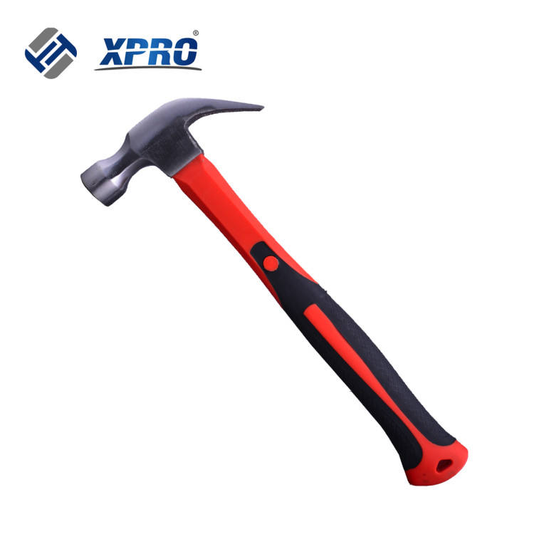 CARBON STEEL DROP FORGED CLAW HAMMER WITH FIBERGLASS HANDLE