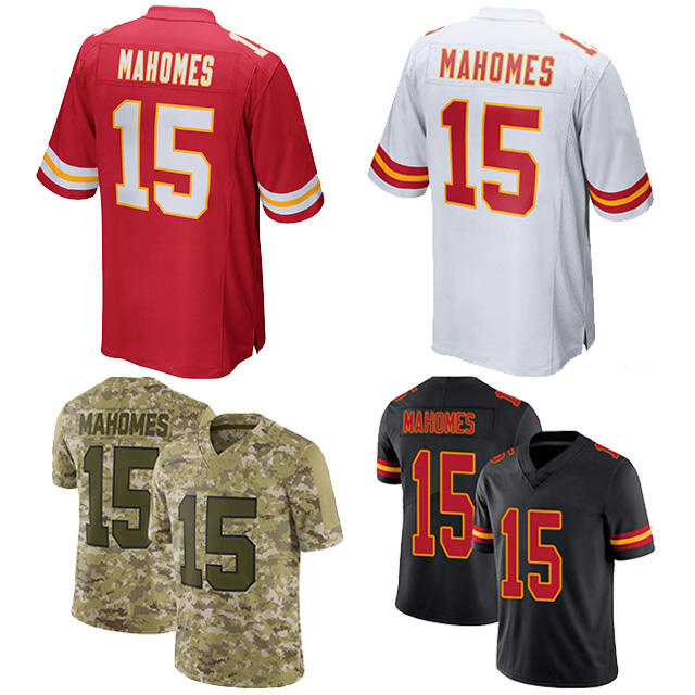 Latest High Quality 15 Patrick Mahomes custom sublimated american football jersey