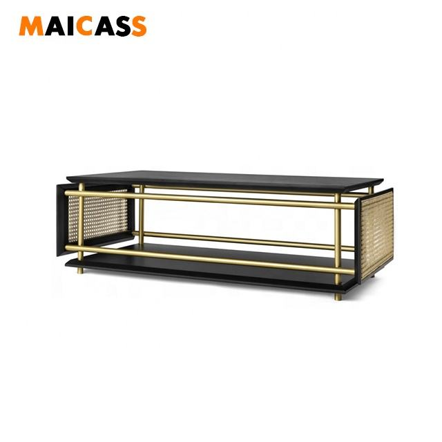 Brass finished lacquered wood top cane side coffee table