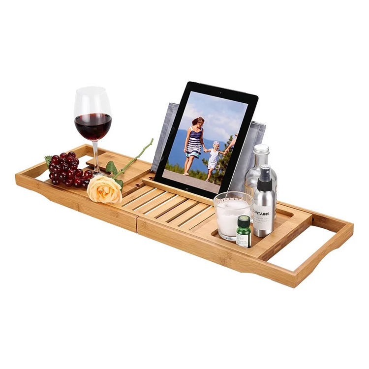 Bathtub Tray Set - Expandable Non-Slip Bamboo Wooden Caddy Bath Holder for Drinks Book Tablet Phone