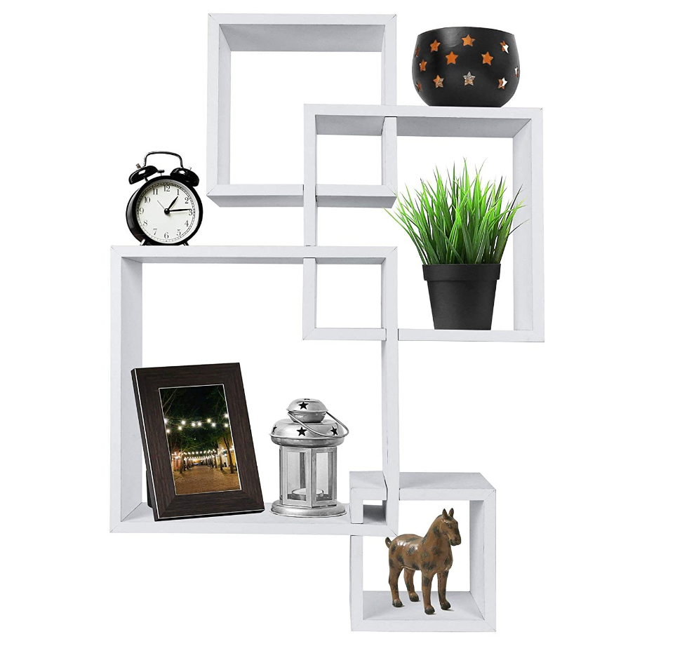 Decorative White Finish 4 Cube Intersecting Wall Mounted Floating Shelves