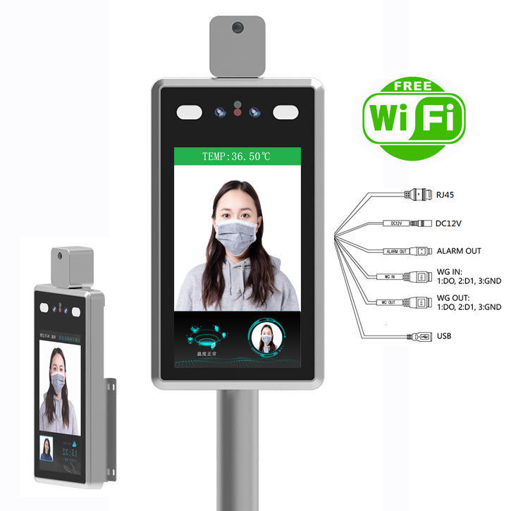 SDK Wifi Camera CCTV Non Touch AI Dynamic Face Recognition Temperature Detection Time Attendance Door Access Control System