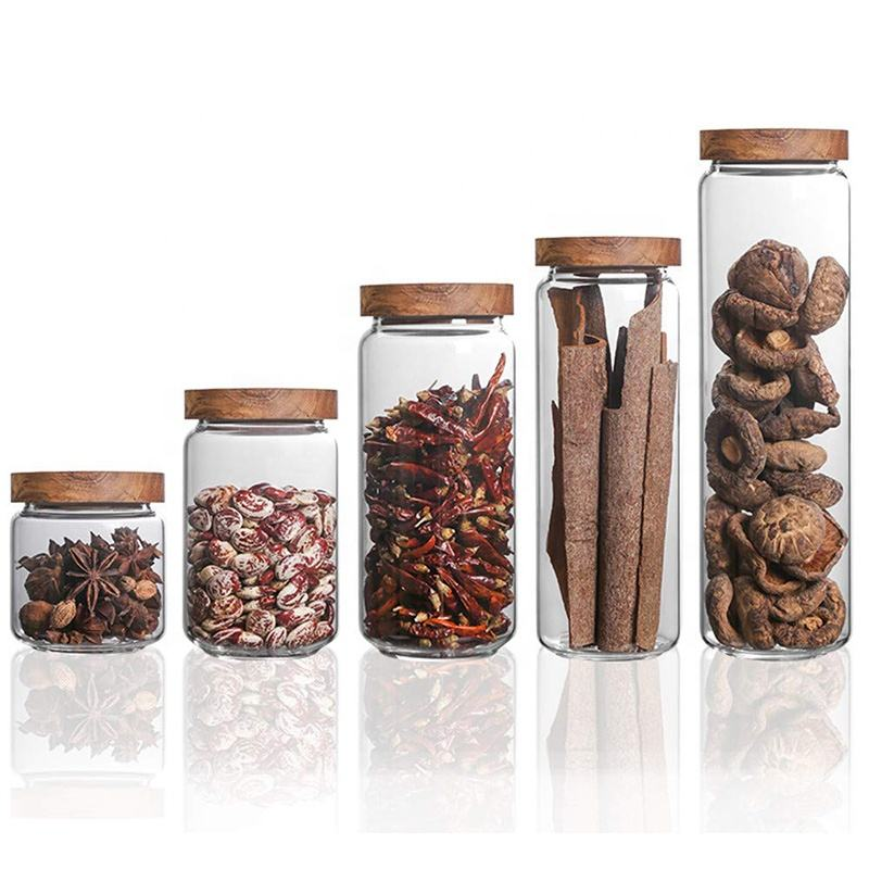 New selling transparent glass storage jars with wooden lids glass preserving jar with wooden lid