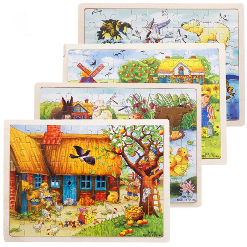 Early childhood education of Wooden Jigsaw cartoon farm animal Jigsaw