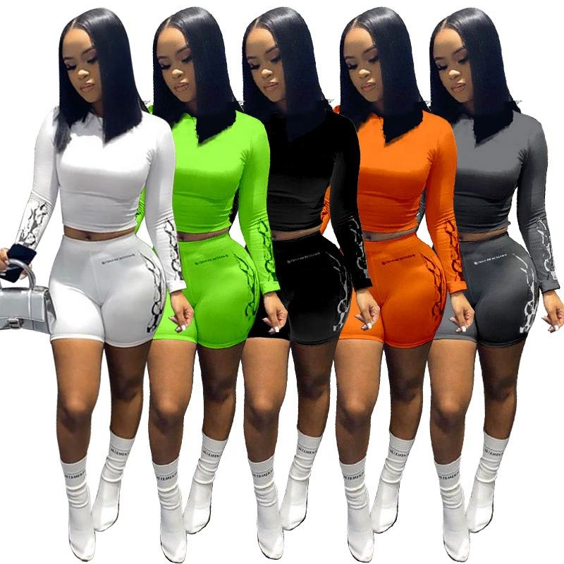 2020 summer women clothing 4colors 3xl crop top Tshirt with shorts two piece outfit 2 piece short set