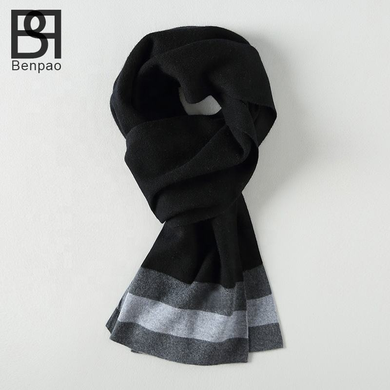 High quality factory wholesale simple and generous pure wool plain knitted men scarf
