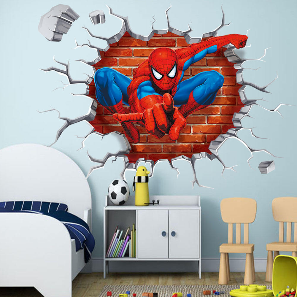 3D Three-dimensional Decorative Painting Spiderman Wall Sticker