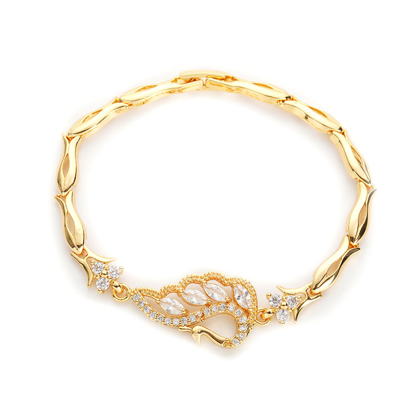 18K gold chain pink cz bracelet 2019 for women,new gold peacock feather bracelet models