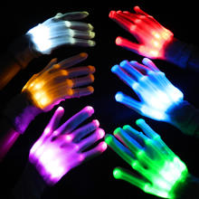 The Latest Version 6 flash modes Nylon Solid color LED gloves Party Glow Glove