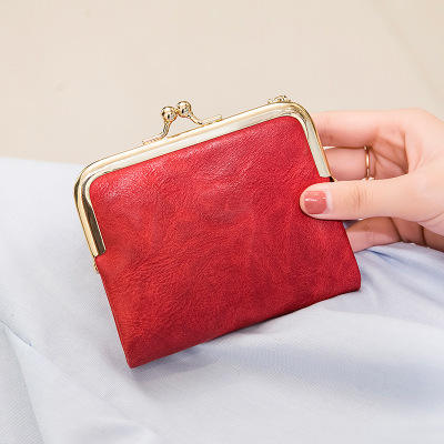 2020 Women Coin Purse PU Leather Card Holder Short Folding Wallet With Metal Clip Frame Change Pocket