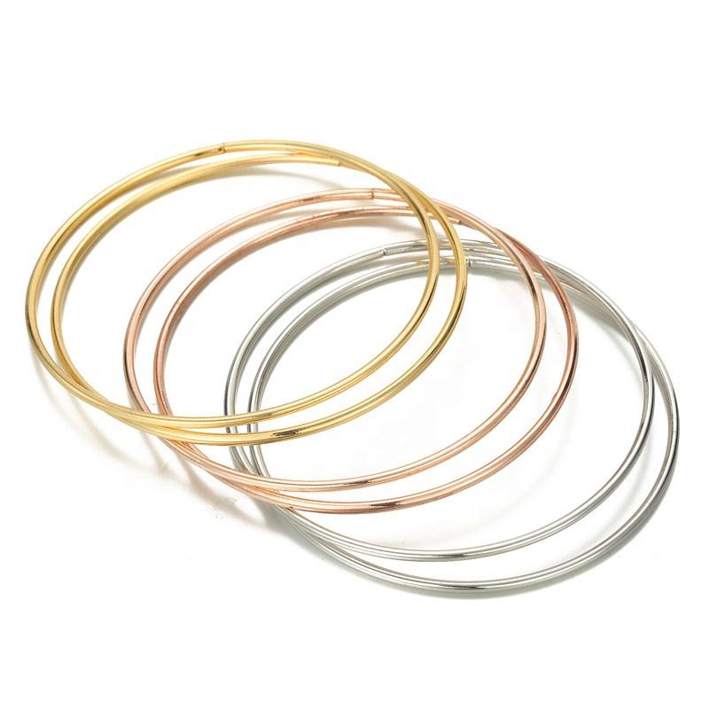 Wholesale Jewelry Gifts Metal Girls Bangles Simple Smooth Round Layered Bracelets