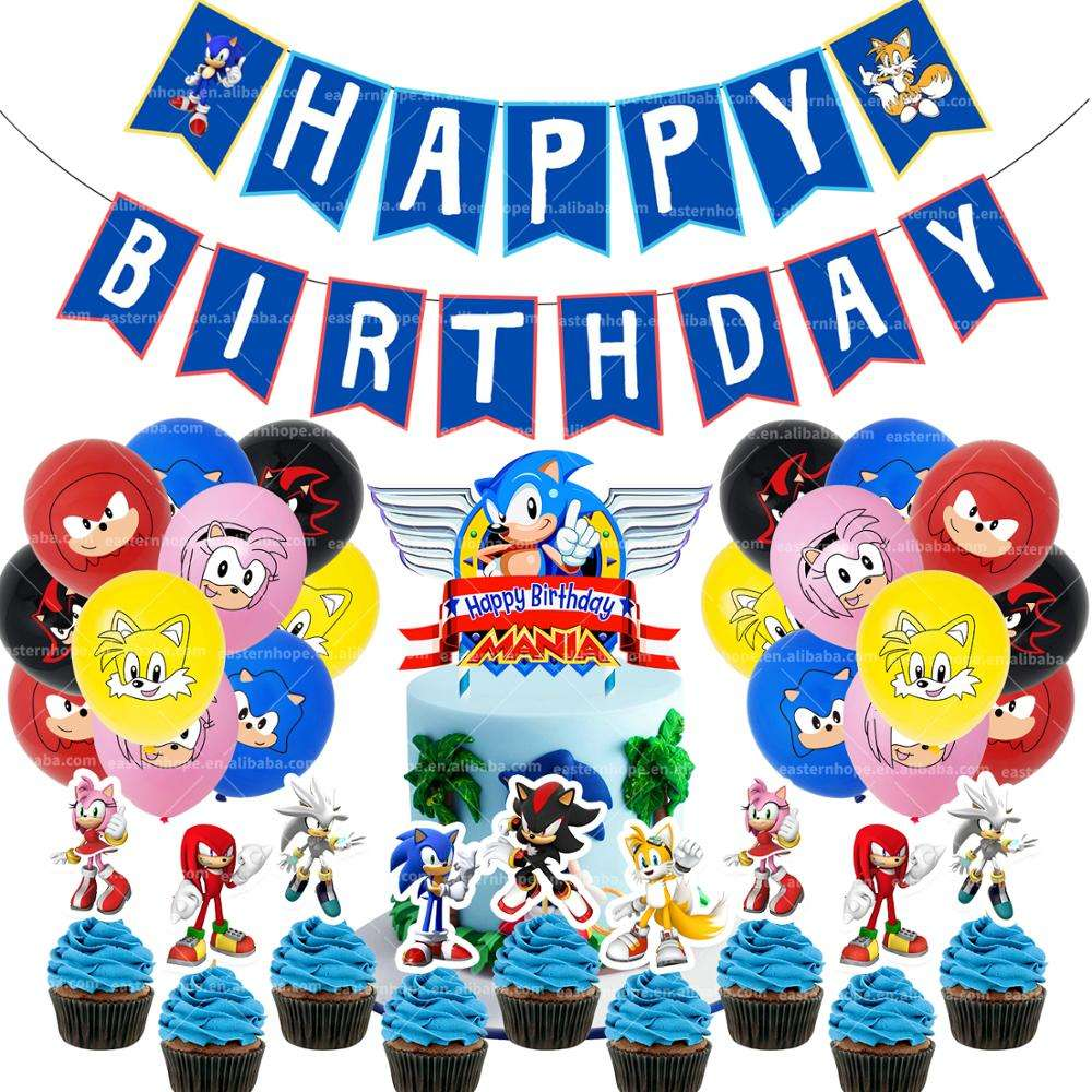 Sonic · ザ · ヘッジホッグParty Supplies、Birthday Banner Balloon Party PackためKids Shower Party Decorations