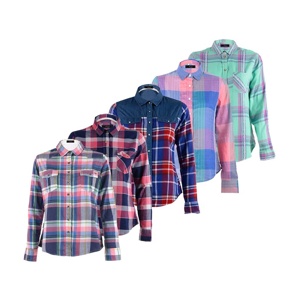 Custom logo woven plus size yarn dyed long sleeve colorful cotton plaid woman korean style clothes