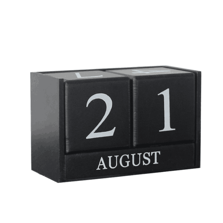mini wooden advent desk calendar stand with cube design for office & home
