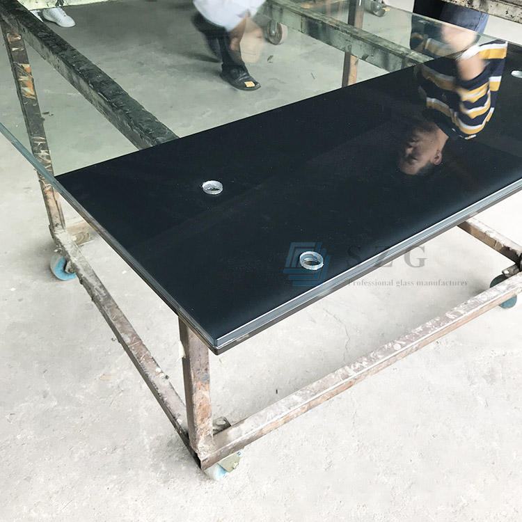 glass manufacturer in China black silk screen printed decorative tempered laminated aluminum glass balcony balustrade railing