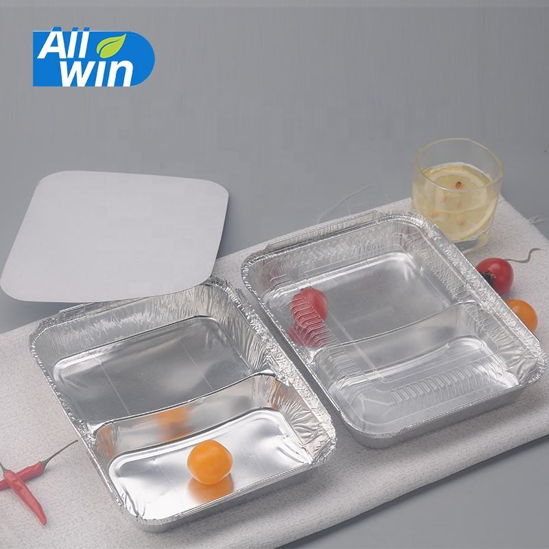 810ml Disposable Food Grade 2 Compartment Aluminum Foil Container/Tray Work Home Packing Takeaway Food Container