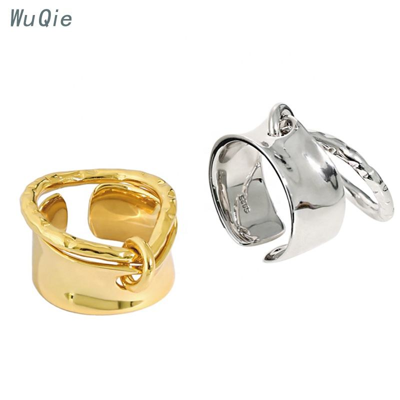 Wuqie Personalized Creative Design Silver Double Circle Adjustable Ring Fashion Jewelry Finger Ring