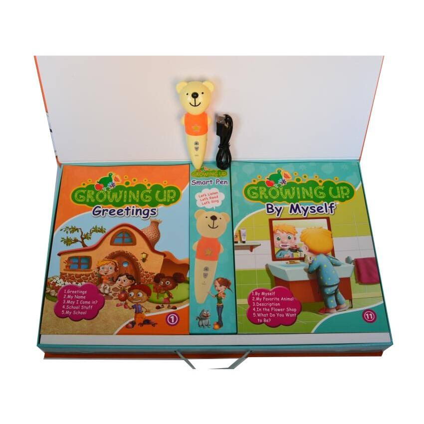 Children education English talking set 20 books and 1 cartoon bear talking pen included support Drop shipping