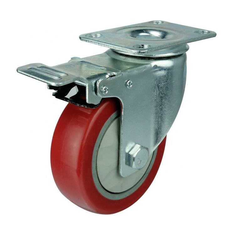 Medium duty red pvc caster wheel with double brake for trolley