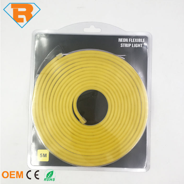 Waterproof IP65 DC12V SMD 2835 Yellow Color LED Neon Rope Strip Light 5M One Set Silicone Shell for Decorative Lighting