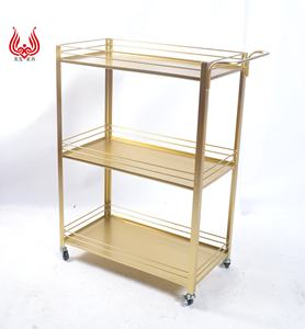 Portable 3 Tire Multifunction Utility Storage Organizer Craft Cart Metal Gold Rolling Dolly Trolley Cart with Wheels