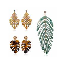 2020 New Arrivals 9 Designs Resin Acrylic Monstera Leaf Drop Earrings Acetate Acrylic Palm Leaf Earrings