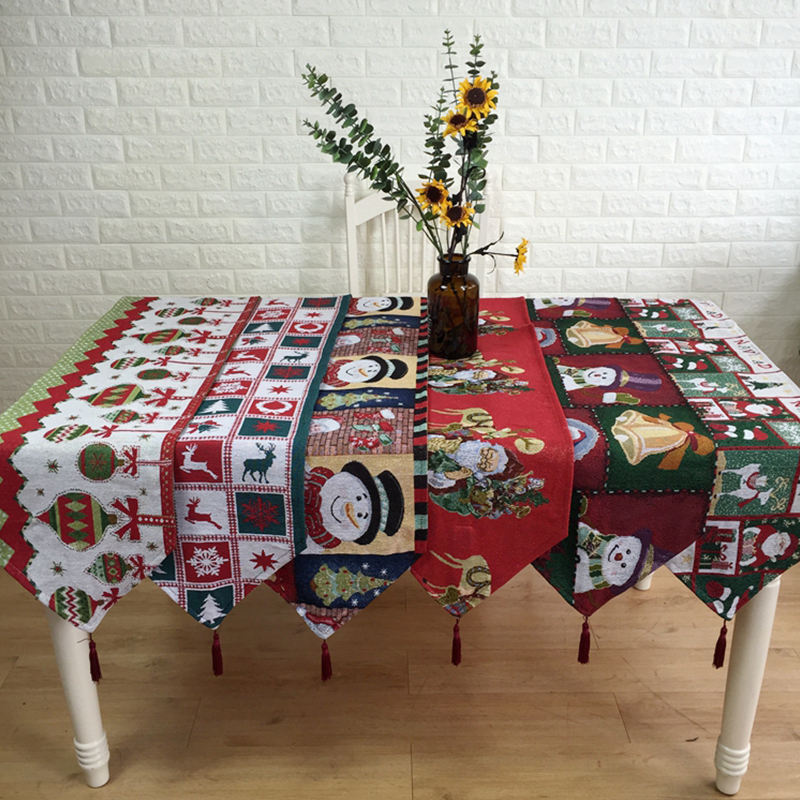 Christmas Colorful Cotton Polyester Jacquard Tapestry Table Runner