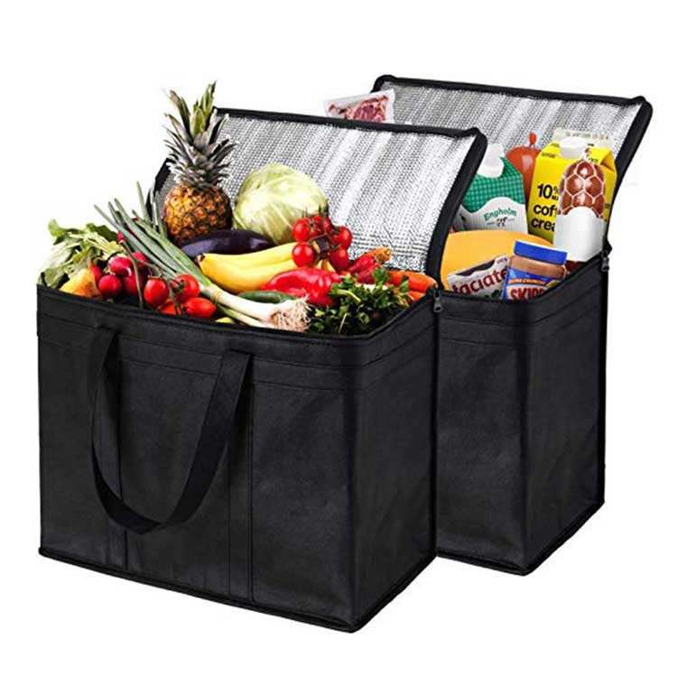 Extra Large Heavy Duty Custom logo Reusable Tote food delivery bag, Grocery thermal Shopping Bag Insulated Cooler Bag