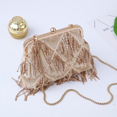 ALB024 shoulder evening dress cross body sequin fringe handbag