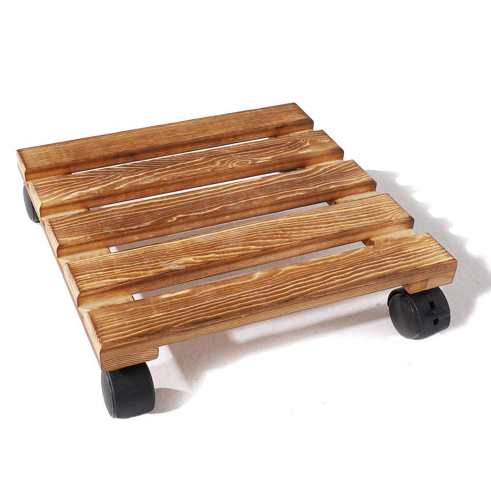 Wholesale Plant Caddy Wooden Plant Stand Square Indoor Outdoor on Roller Patio Flower Pot