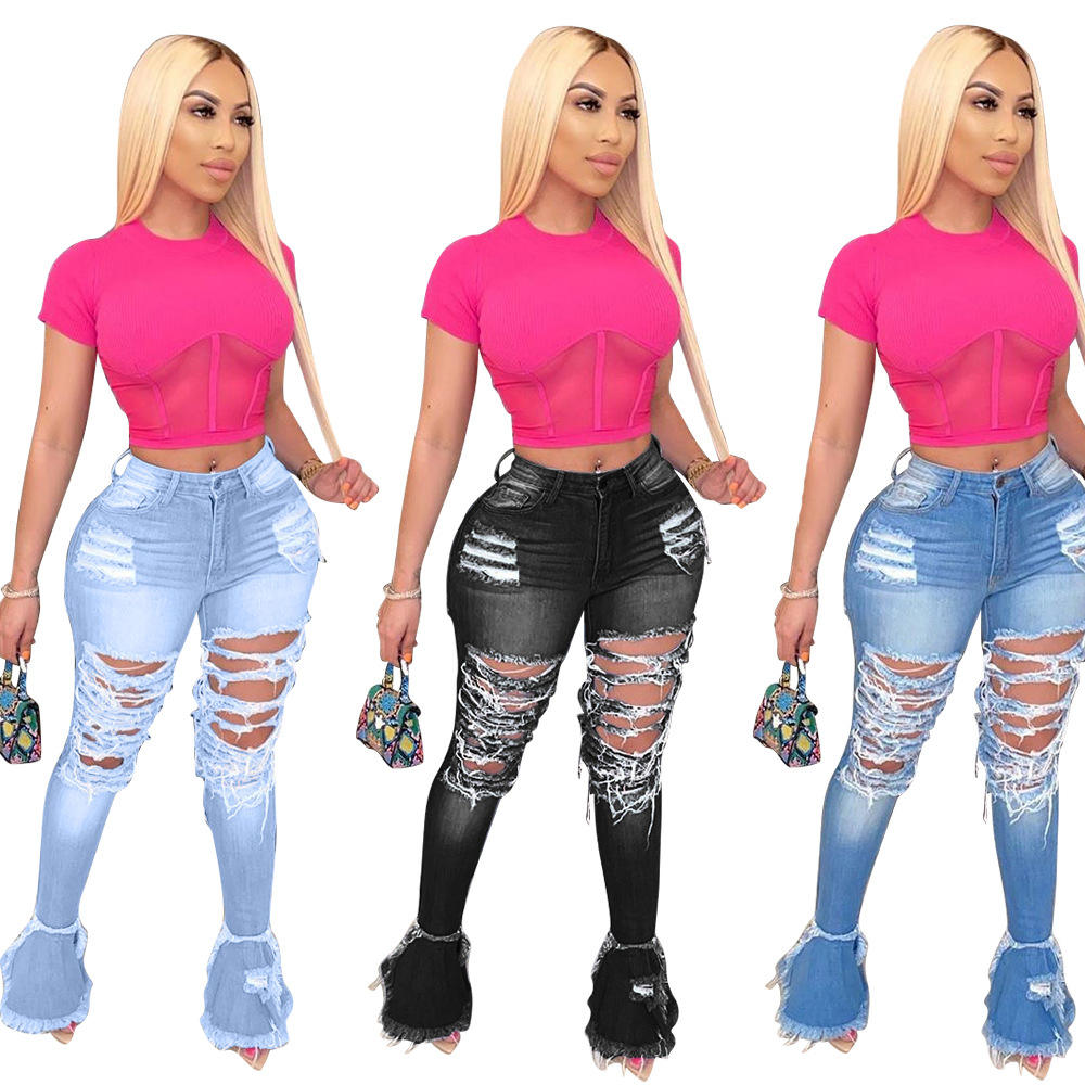 Wholesale New Fashion High Quality Casual Ripped Cheap Ladies Jeans