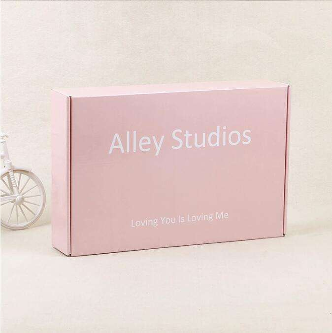 Wholesale 4 Color Printing Light pink Color Luxury clothes packaging box gift Corrugated craft paper box