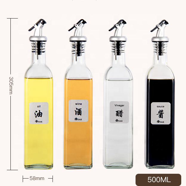 Cooking Oil [ Glass Bottles ] Glassglassglass Wholesale Kitchen Accessories Cooking Tools Soy Sauce And Vinegar Leakproof 500ml Custom Glass Oil Bottles
